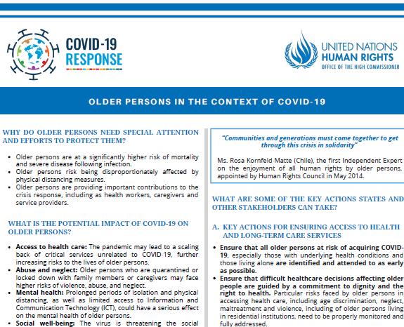 UN Moldova - Protecția persoanelor în etate în contextul pandemiei COVID-19
