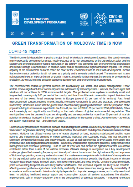 Green transformation of Moldova: Time is now