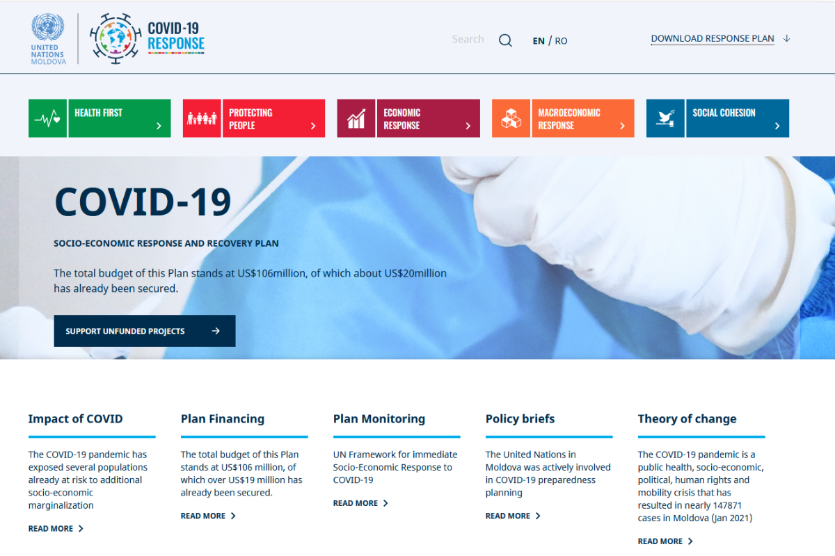 UN Moldova launched the COVID19 Response & Recovery web page