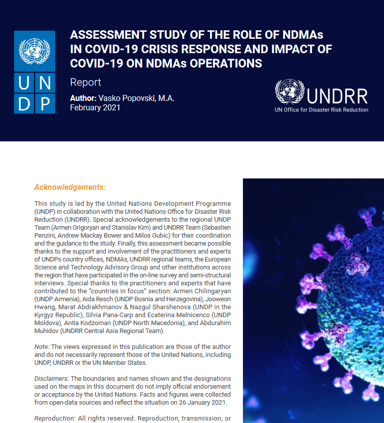 Assessment Study of the Role of NDMAs in COVID-19 Crisis Response and Impact of COVID-19 on NDMAs Operations